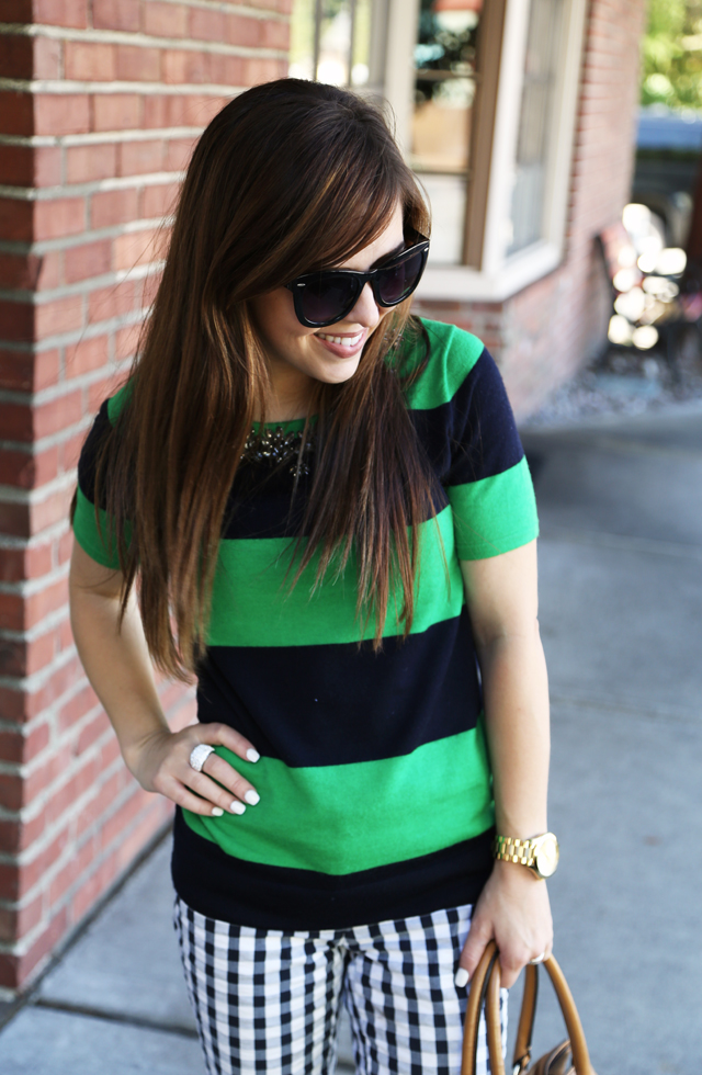green and navy stripes