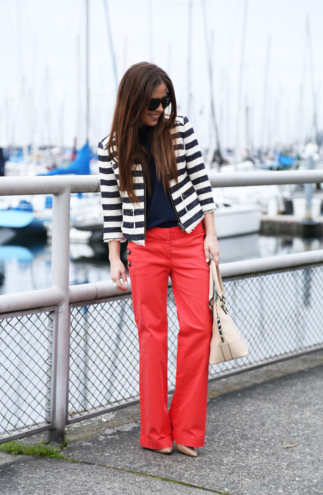 wide leg pants and stripes