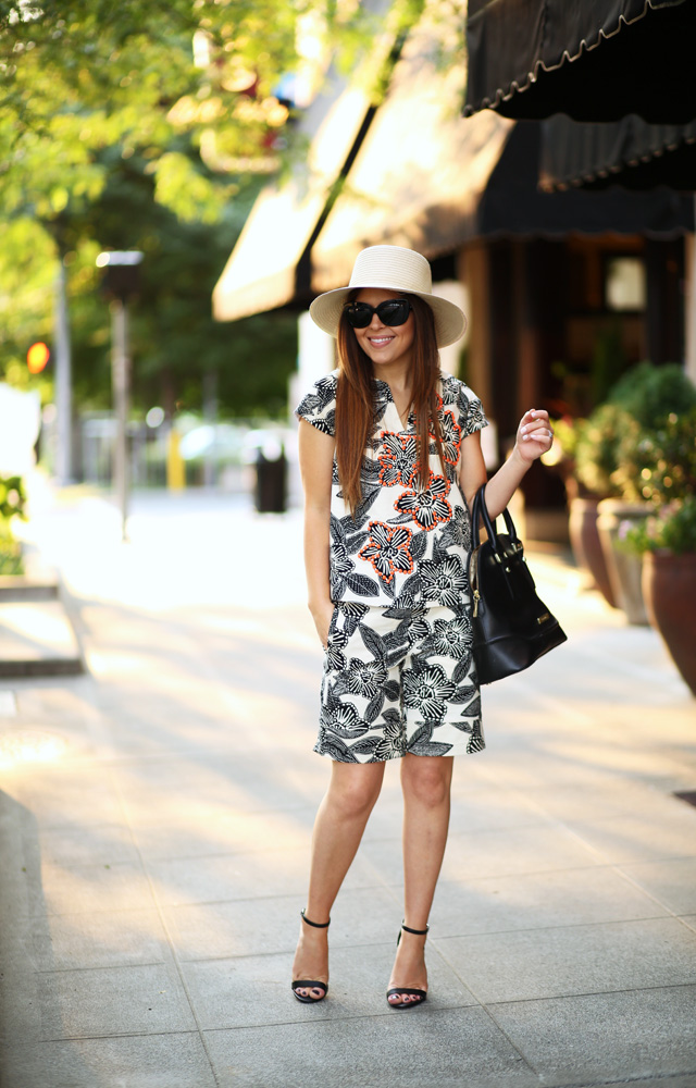 black and cream tropical top and matching shorts