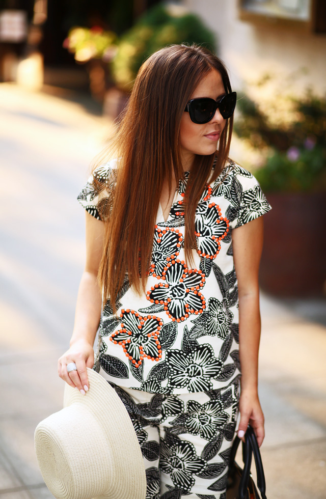 tropical top and sun hat