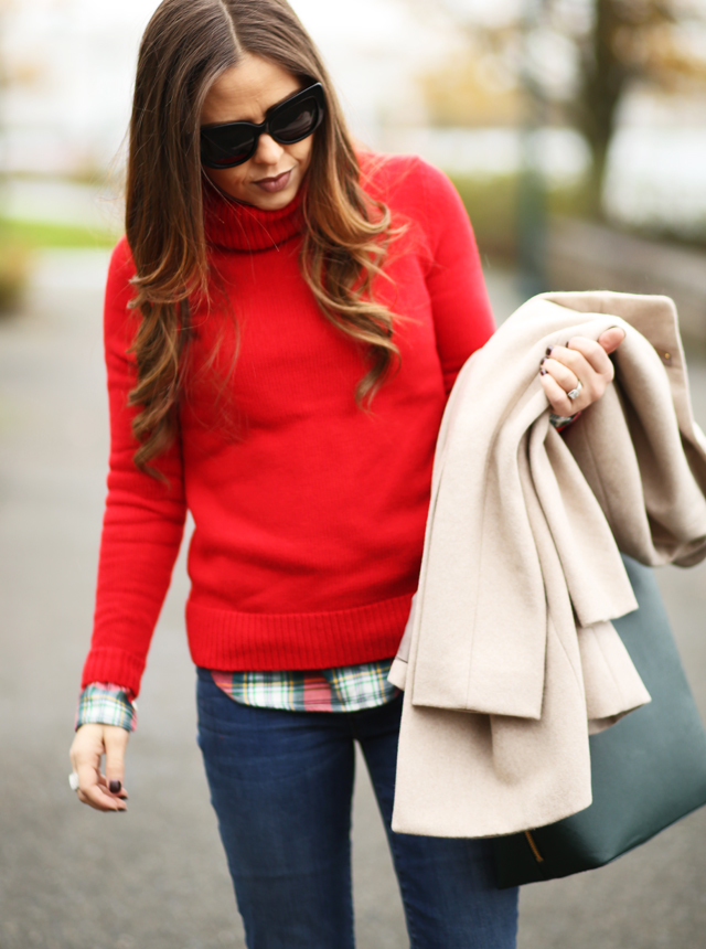 Holiday layering corilynn for Flannel shirt under sweater