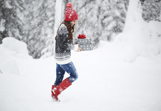 black white and red in the snow