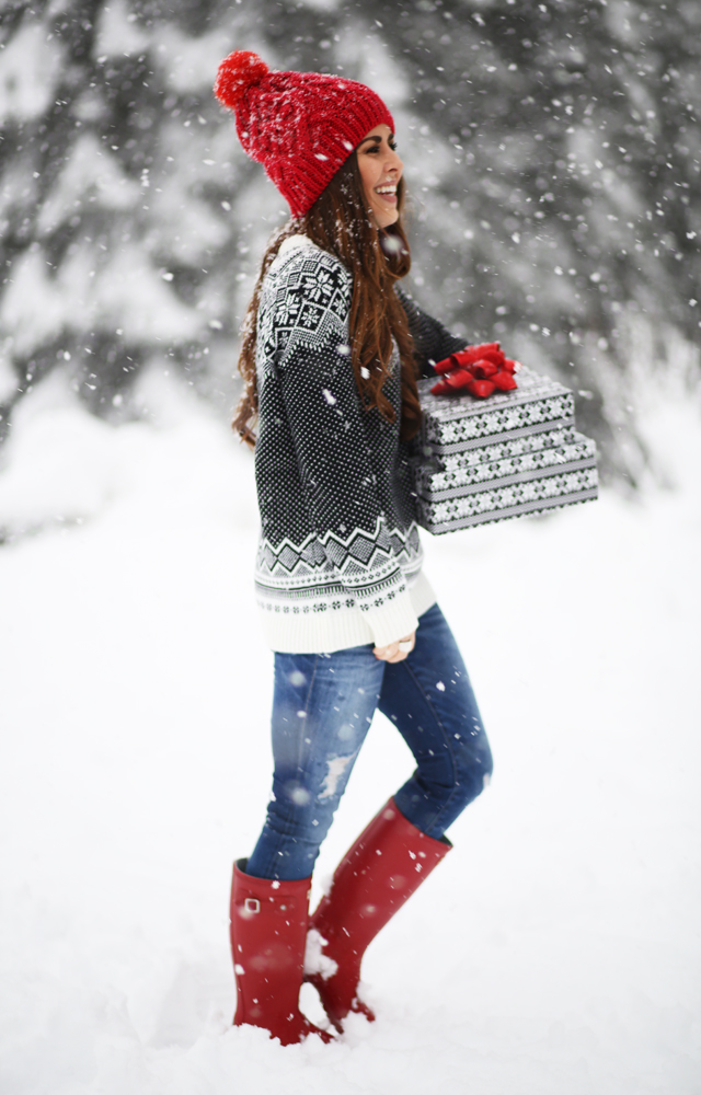 red hat red hunter boots fair isle snow flake sweater