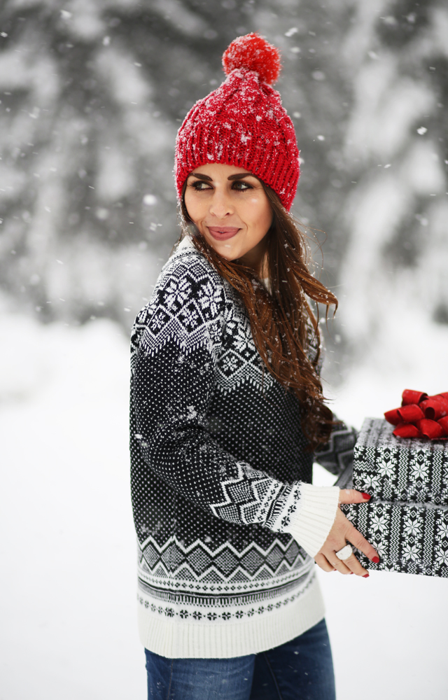 snowy day with a snowflake fair isle sweater