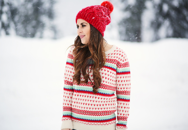 red hat and mint and red fair isle sweater