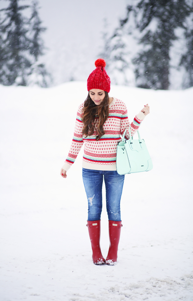 v-day red and mint sweater in the snow