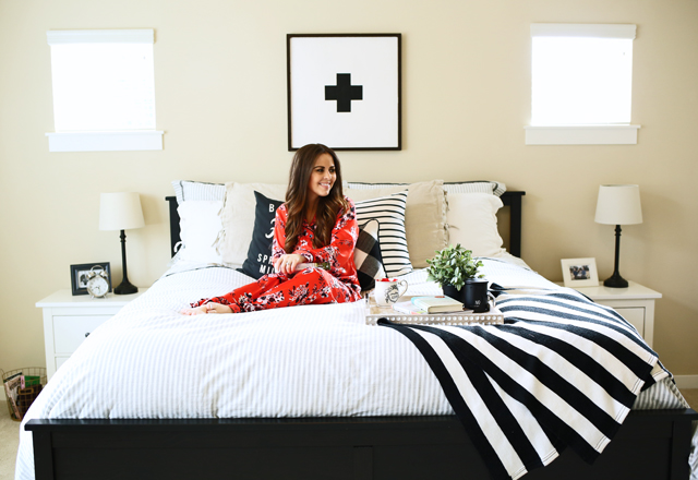 swiss cross black and white layered bed