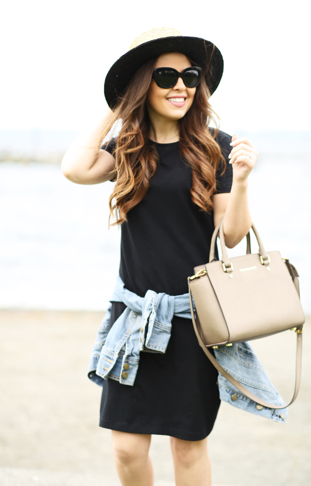 how to wear a black t-shirt dress in the spring