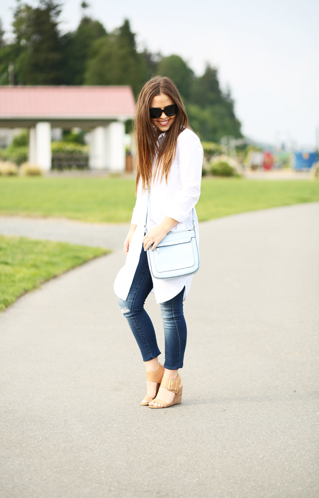long white structured tunic