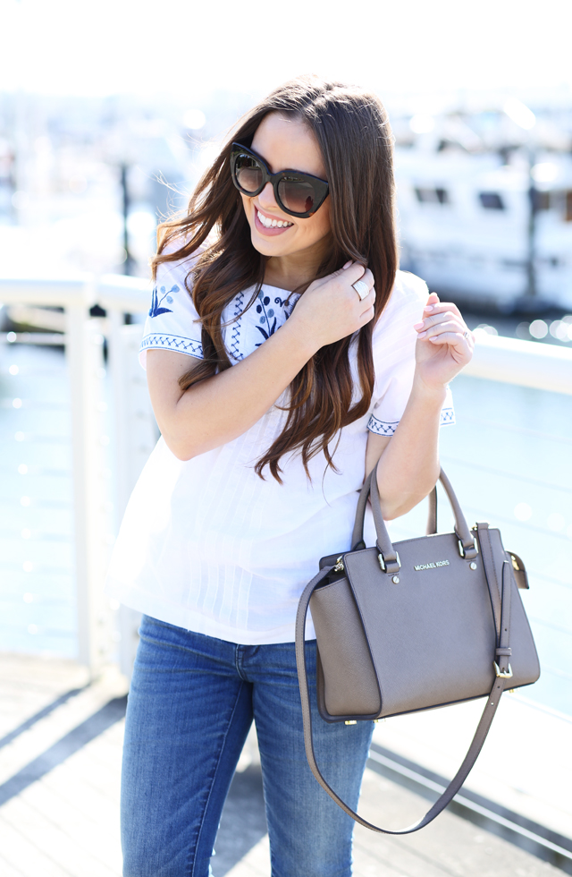 perfect blue and white peasant top