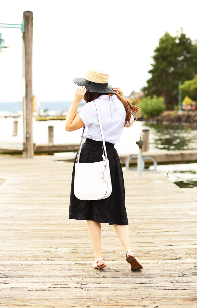 boater hat and an eyelet summer skirt
