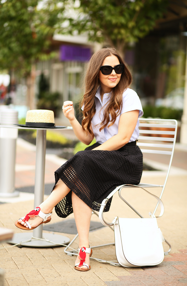 casual summer outfit with kate spade new york charlie sandals