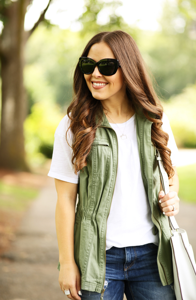 easy white tee and army green vest