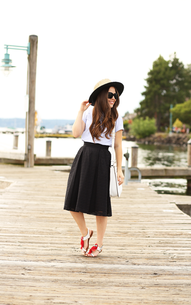eyelet skirt with boater hat and kate spade charlie sandals