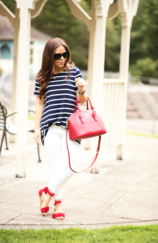 white jeans navy and white striped shirt