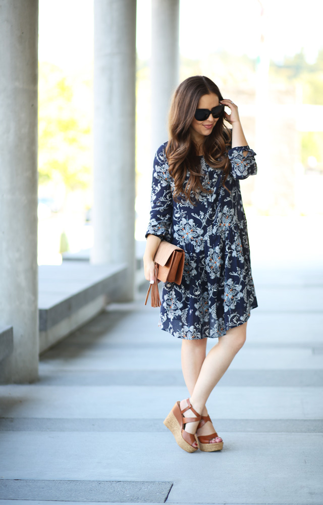 casual dress with wedges