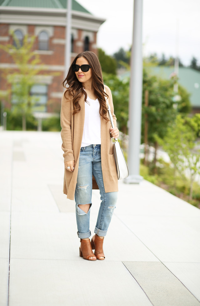 distressed jeans and a tan sweater from Nordstrom