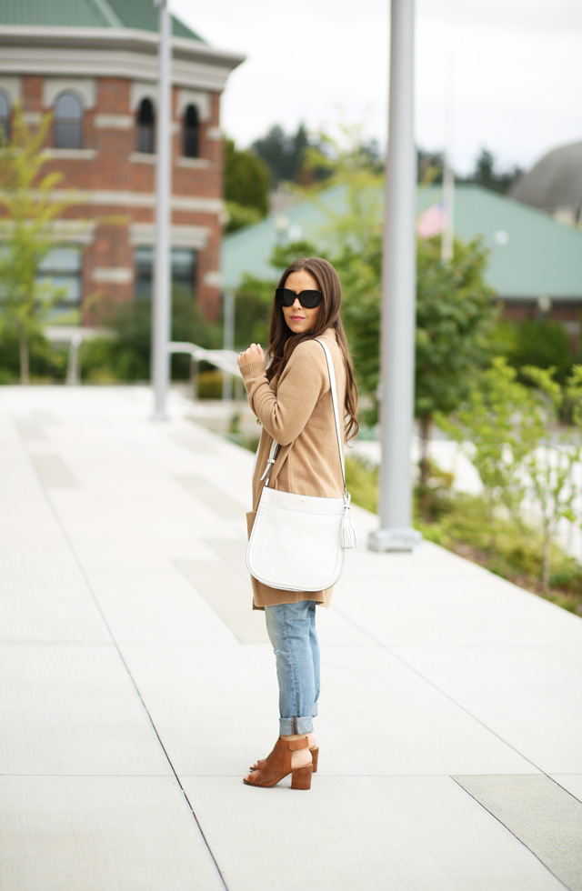 long tan sweater with open toe booties