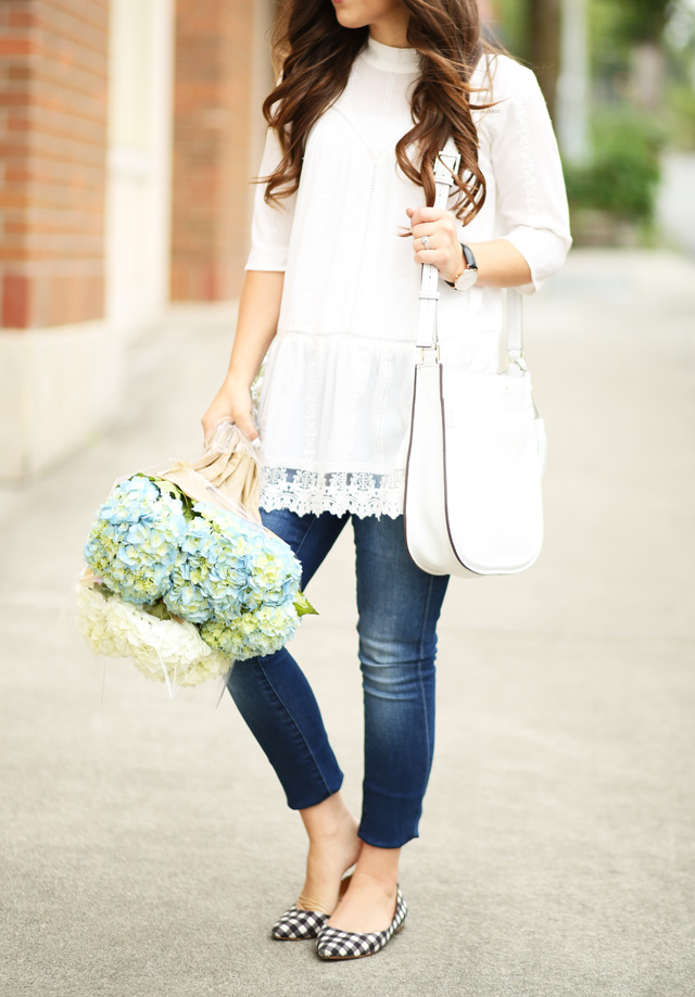 lovely lace tunic with gingham flats