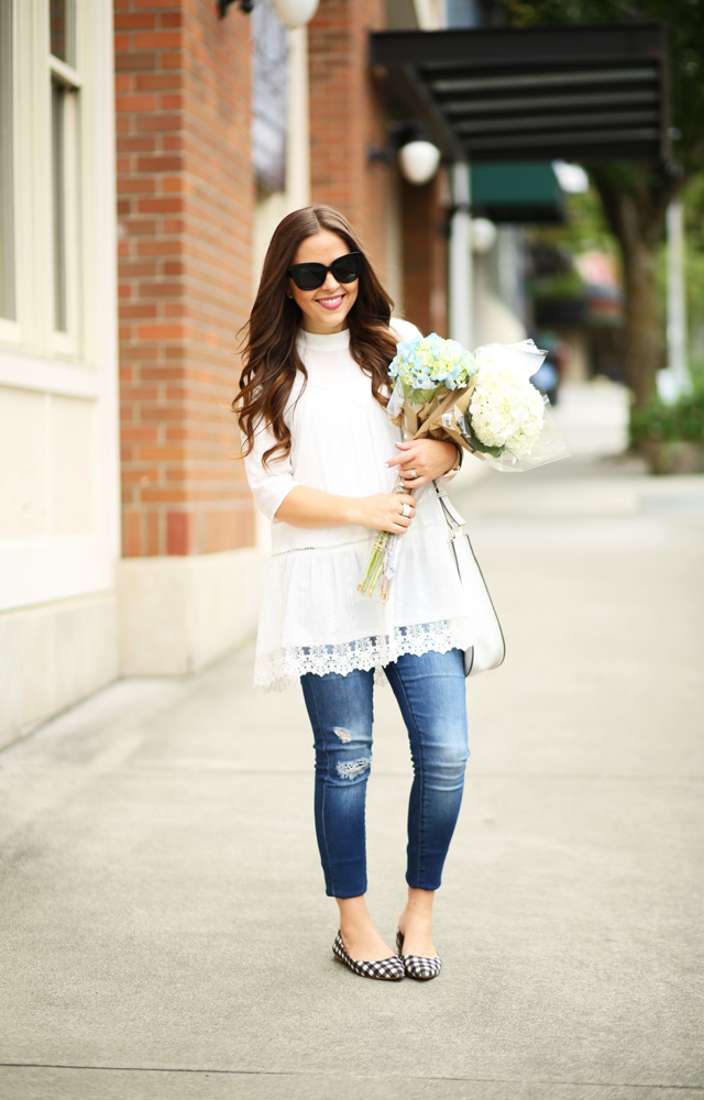 white lace tunic denim and flowers