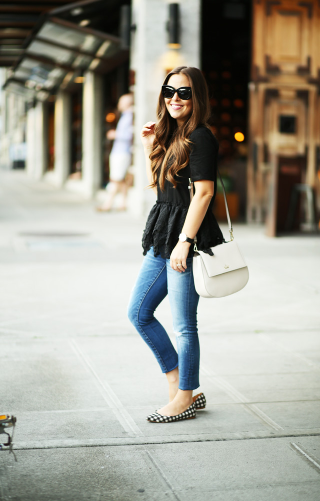 black lace top madewell jeans kate spade bag