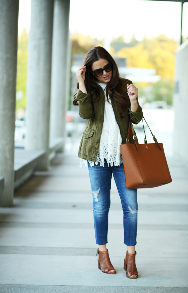 military jacket with a white lace top