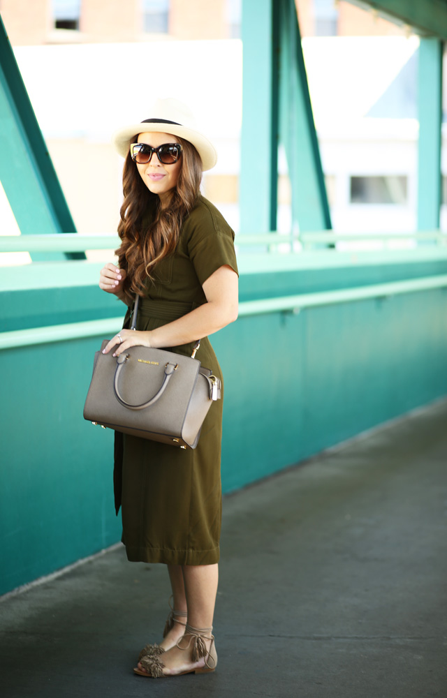 olive shirtdress taupe accessories