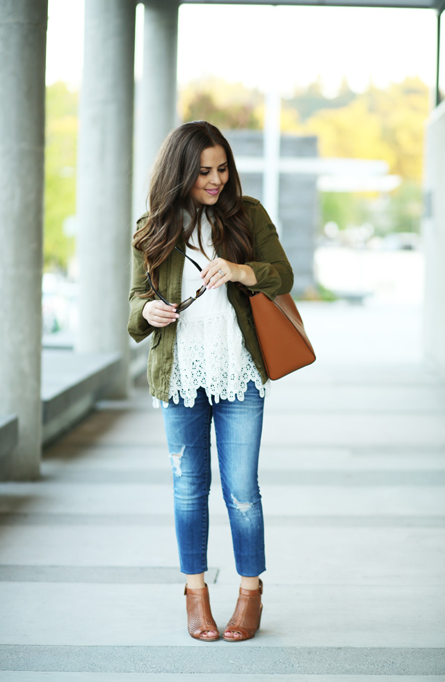 white lace peplum with a military jacket