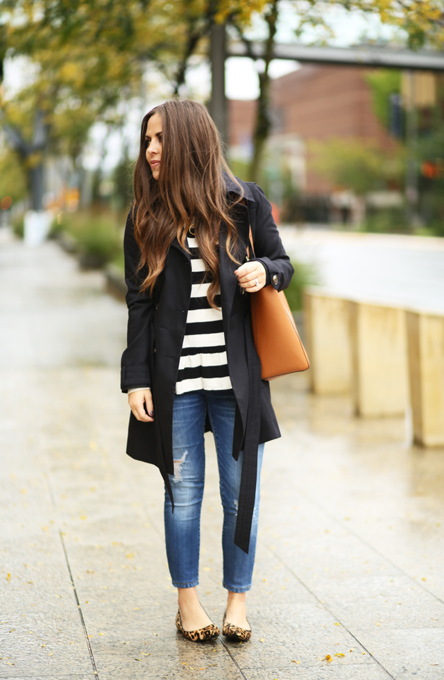 black-trench-with-stripes-jeans-leopard