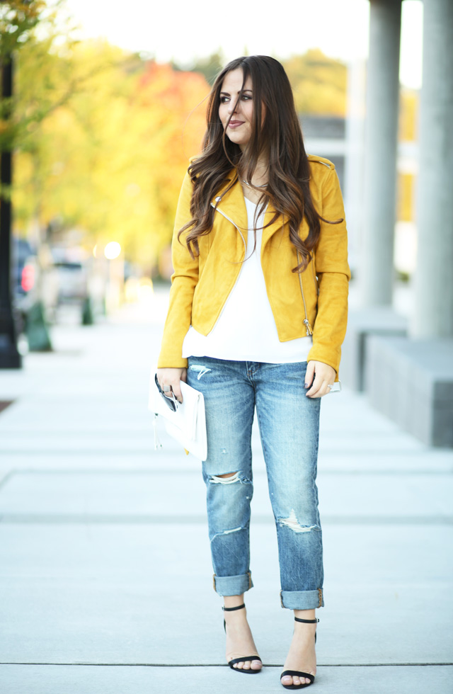 mustard-moto-jacket-white-cami-ripped-jeans