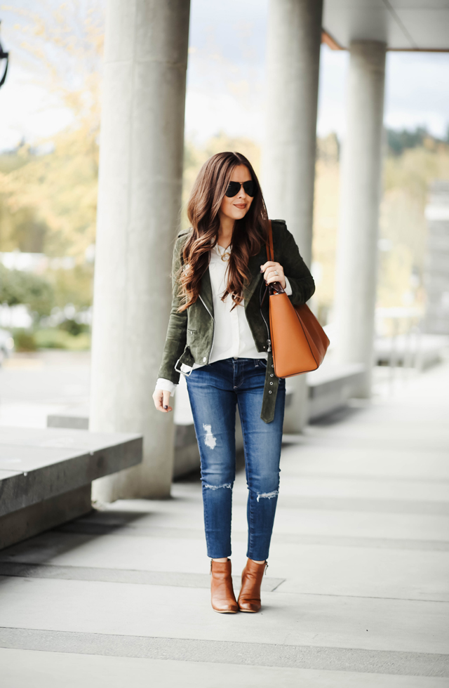 green-suede-jacket-ag-jeans-and-booties