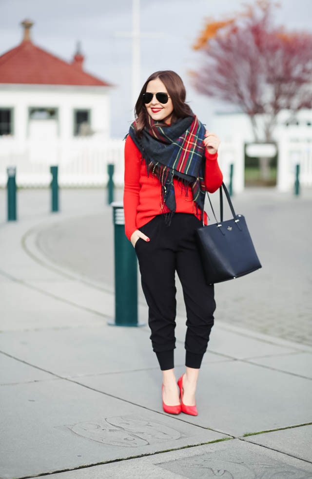black-joggers-red-sweater-plaid-scarf-5