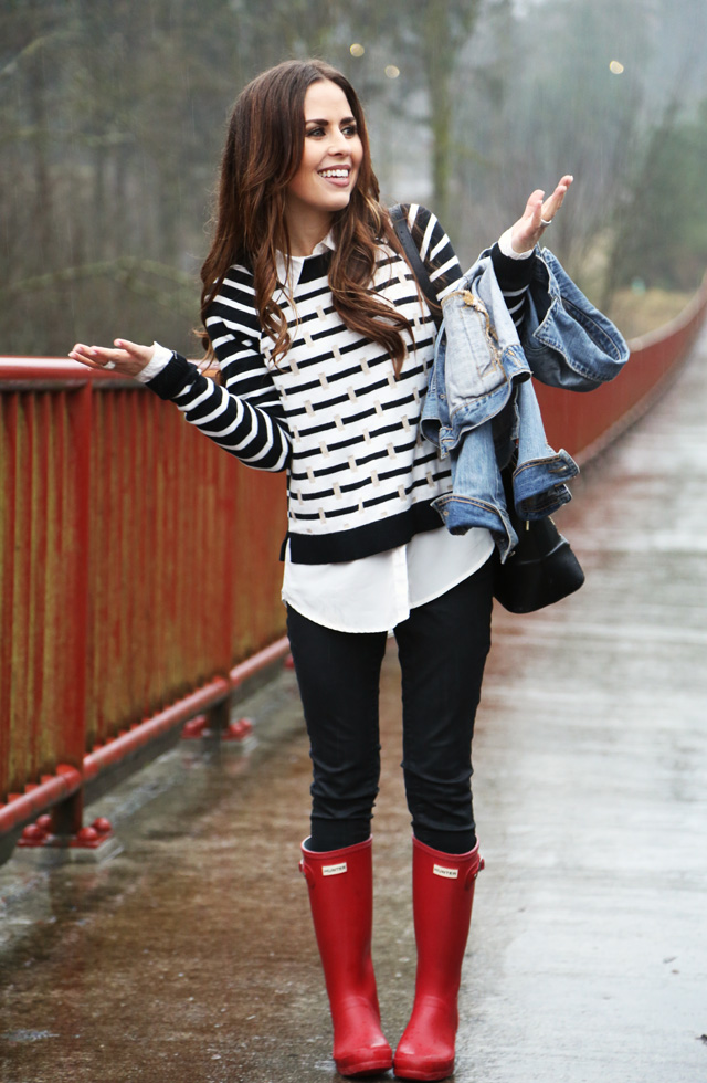 black and white sweater, with denim