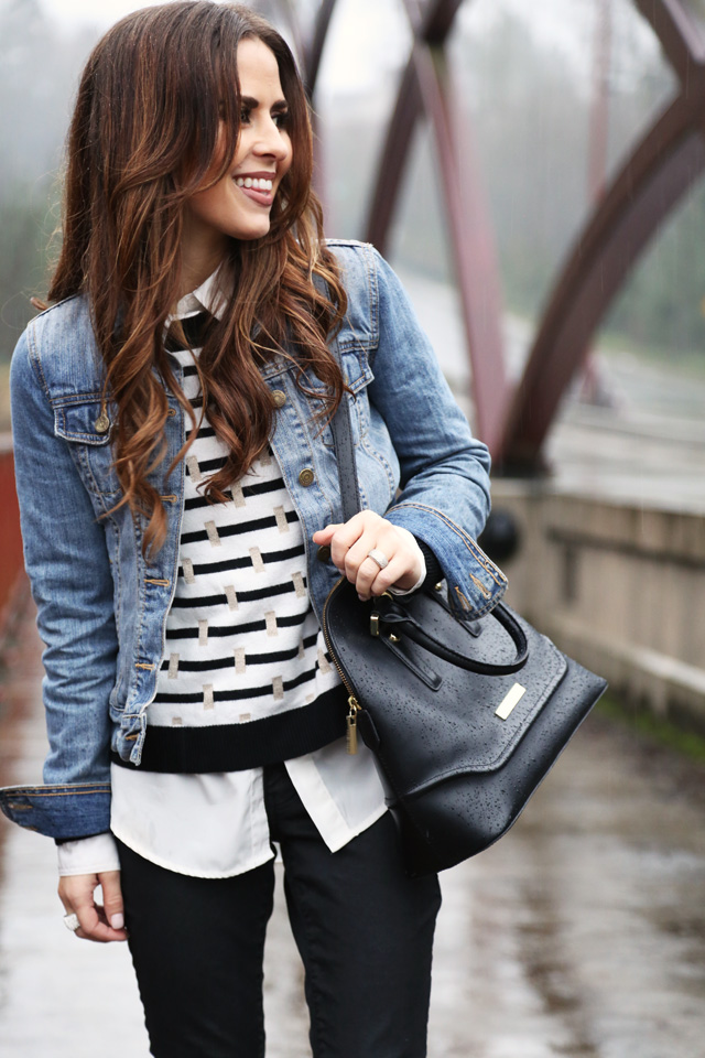 black and white with denim