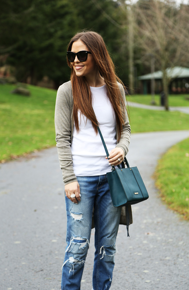 2ed5ecbd49b casual outfit long cardigan distressed jeans. cross body bag