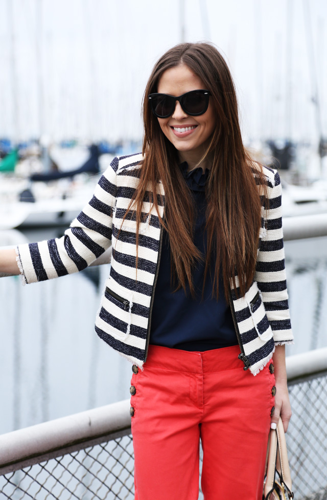 cropped striped jacket and wide leg pants