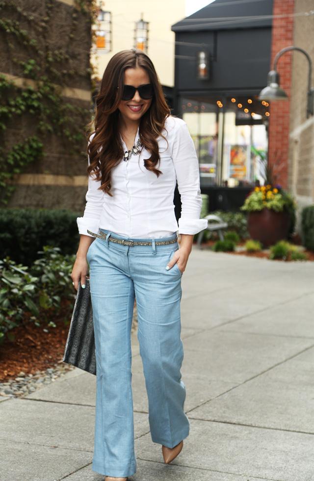 480b15c070d summer staple- linen pants. wide leg linen with a white button up. wide leg  linen  loft pants with a crisp white button down