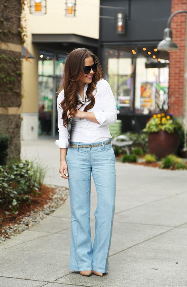 7281a6b67db wide leg linen  loft pants with a crisp white button down - dress ...