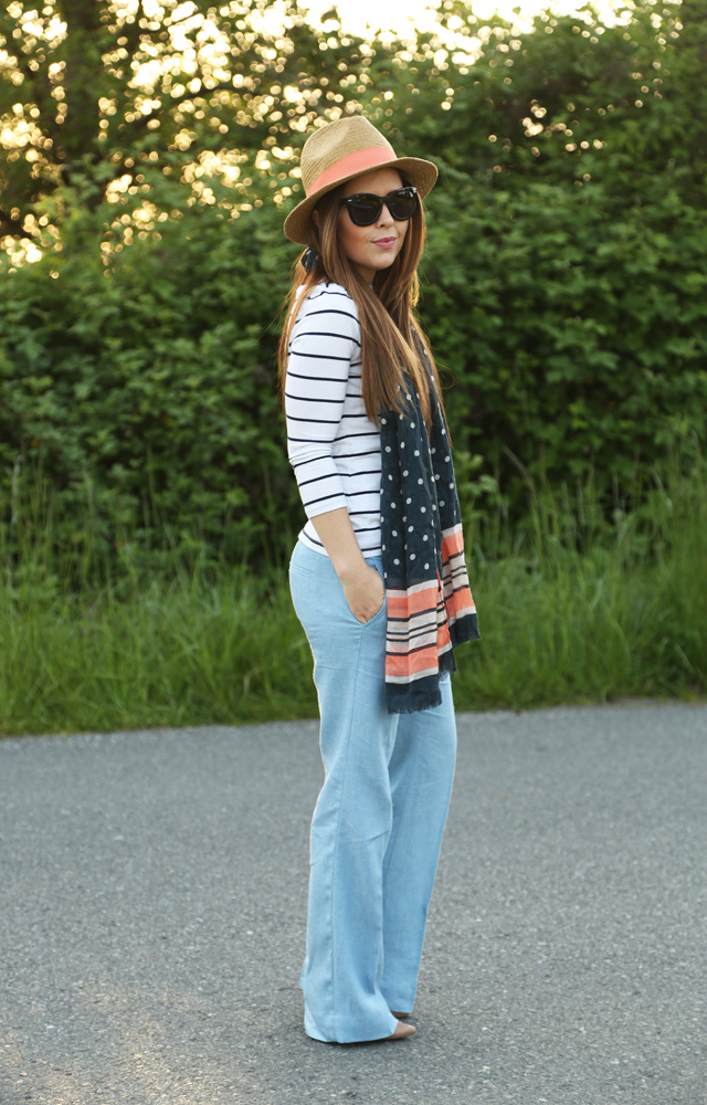 stripes and wide leg linen pants