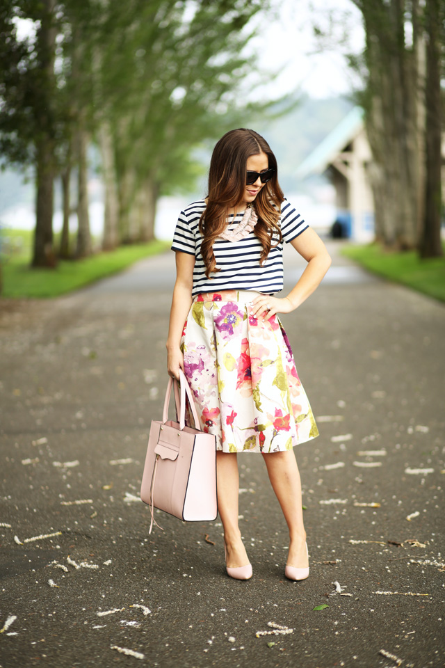 floral and stripe look