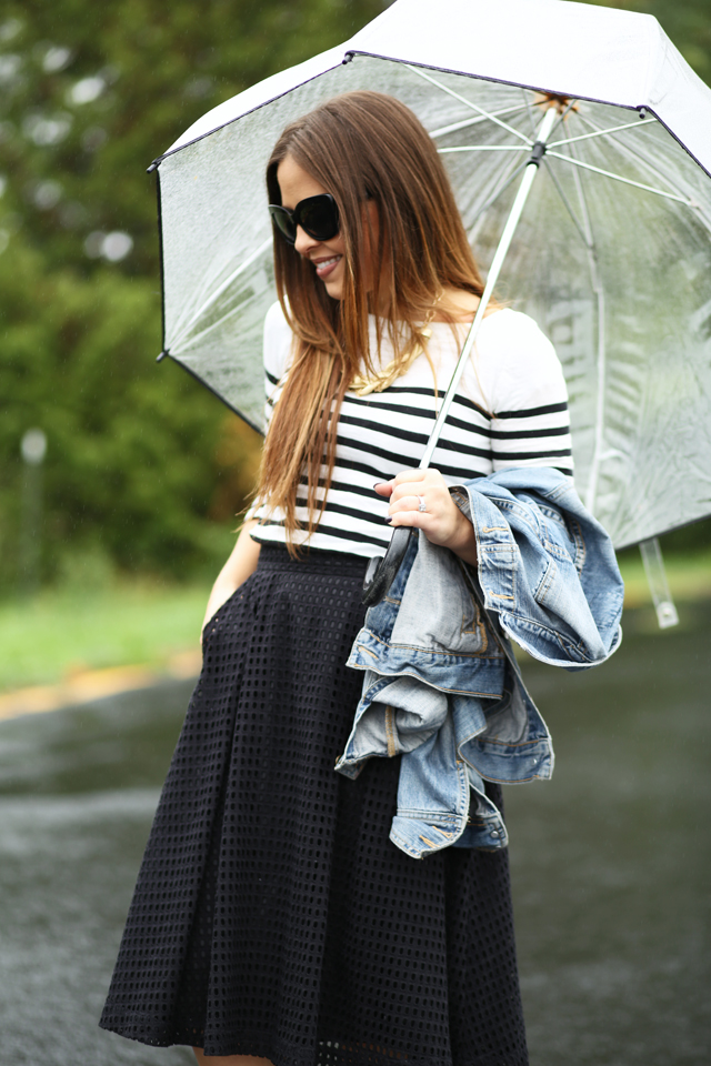 black and white stripes in the rain