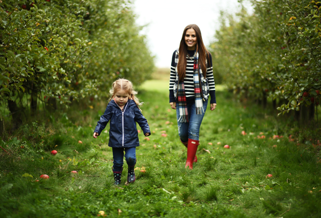 apple picking in fall with Littles
