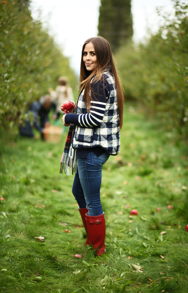 fall outfit buffalo check vest j crew striped sweater red boots