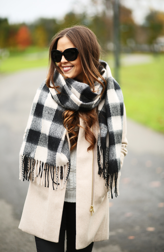 black buffalo check scarf tan coat