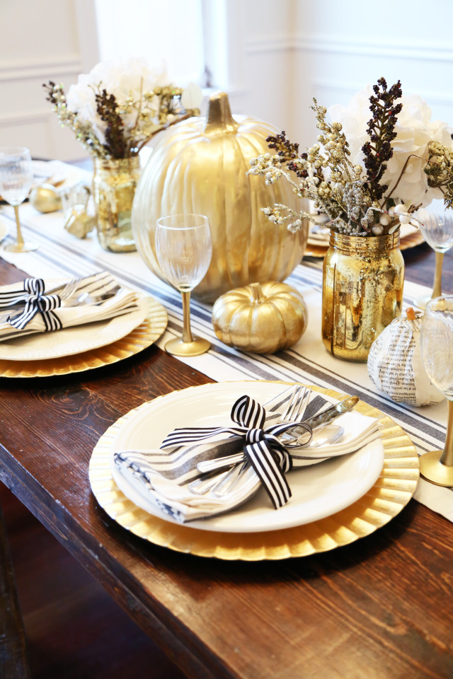 all set: black and gold thanksgiving table. - dress cori lynn