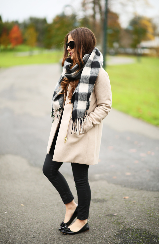 neutral winter coat look