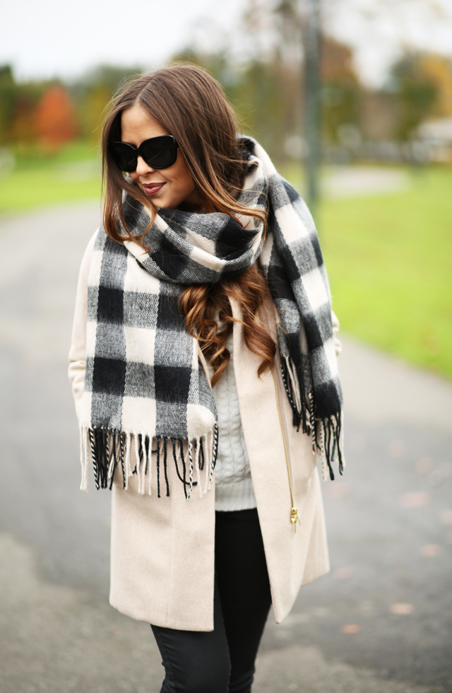 tan coat black buffalo scarf
