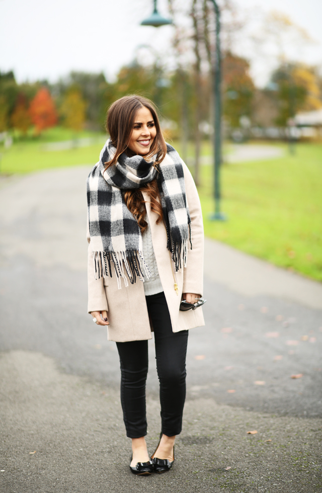 tan coat with buffalo check scarf black