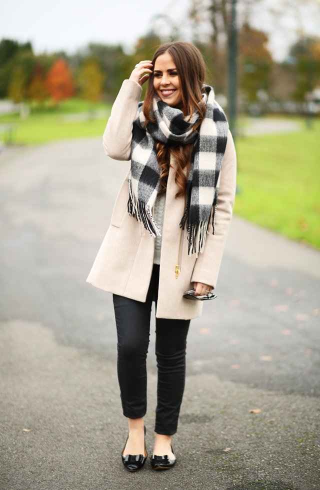 tan wool coat buffalo check scarf bow flats