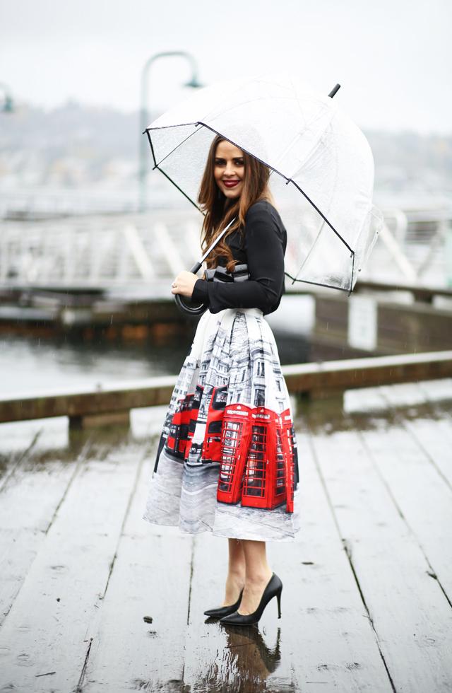 tea length london skirt and black blouse